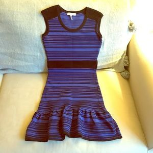 Sandro purple and black striped dress